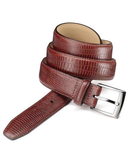 Geprägter Ledergürtel mit Kroko-Design in Gelbbraun
