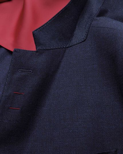 Navy slim fit crepe business suit jacket
