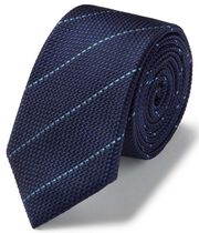 Navy and sky blue textured stripe slim tie