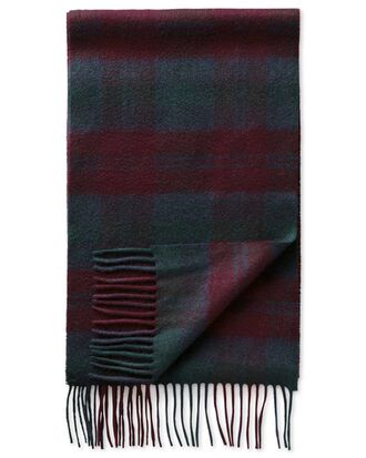 Burgundy check cashmere scarf