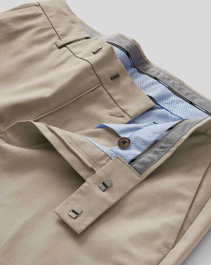 Non-Iron Stretch Trousers - Stone