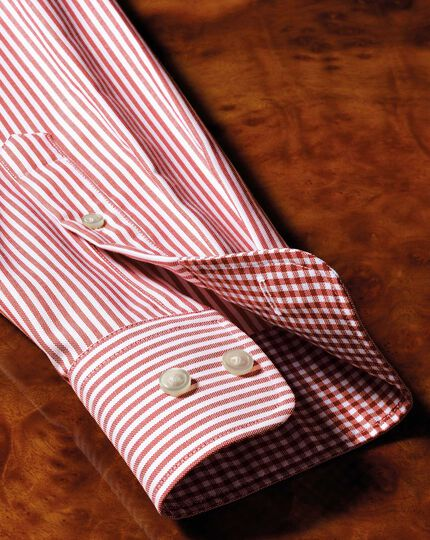 Classic fit button-down non-iron Oxford Bengal stripe rust shirt