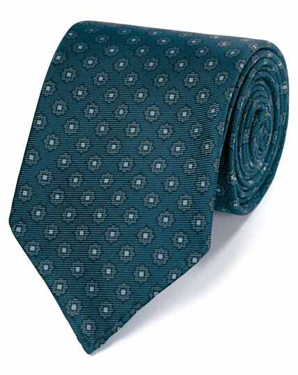 Teal and grey motif printed luxury English hand rolled silk tie