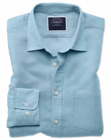 Classic Fit Tencel™/Leinen Hemd in Blau