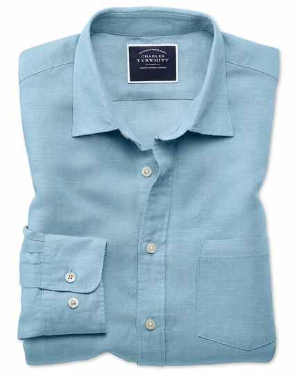Slim Fit Tencel™/Leinen Hemd in Blau