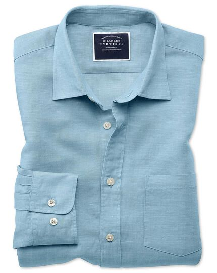 Slim fit blue Tencel™ with linen shirt