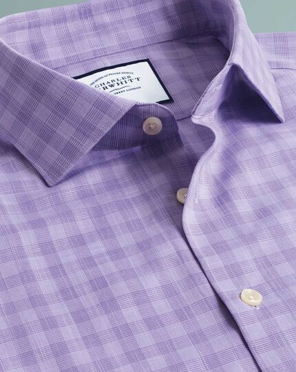 Extra slim fit business casual Egyptian cotton slub lilac check shirt