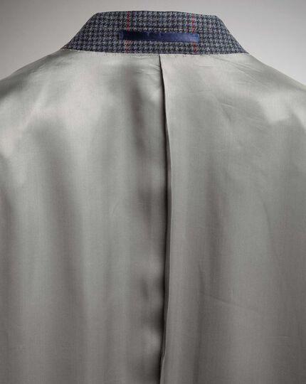 Slim Fit Sakko aus britischem Tweed mit Karos in Marineblau und Rosa