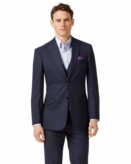 Blue slim fit jaspe check business suit jacket