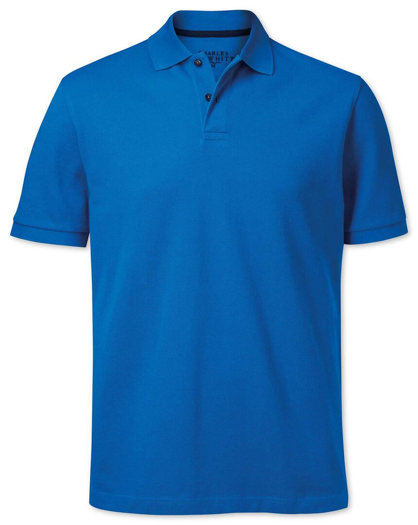 Bright blue pique polo