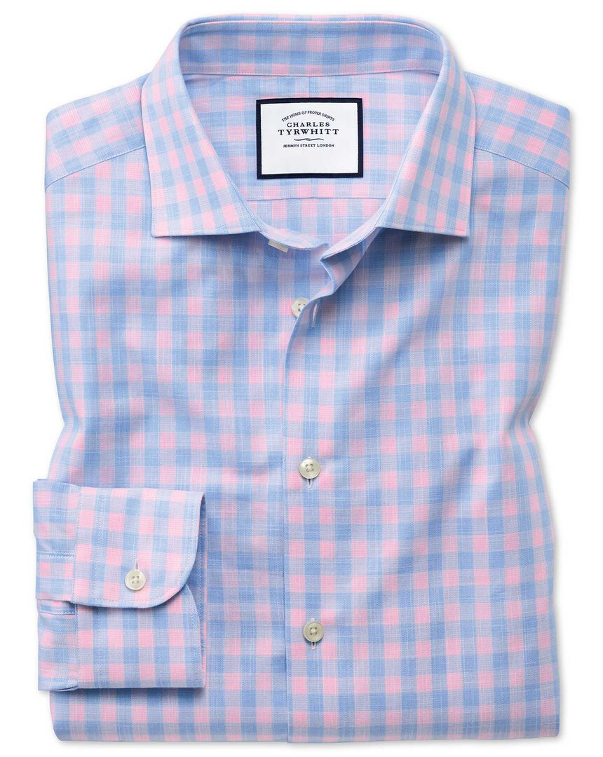 Slim fit business casual Egyptian cotton slub sky blue check and pink shirt