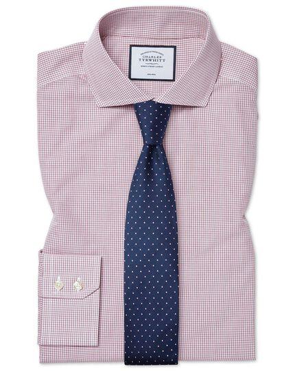 Slim fit non-iron Tyrwhitt Cool poplin check berry shirt