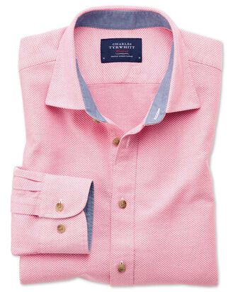 Slim fit washed textured pink shirt