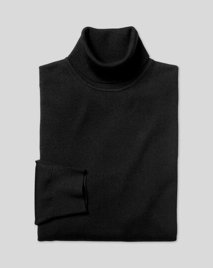 Merino Roll Neck Jumper - Black