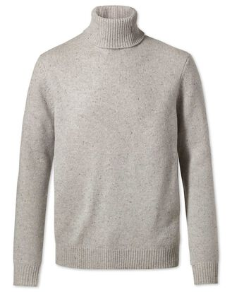 Light grey roll neck Donegal merino jumper