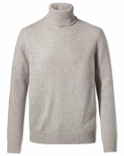 Light grey roll neck Donegal merino jumper