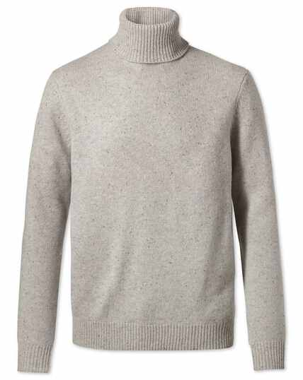 Light grey roll neck Donegal merino sweater