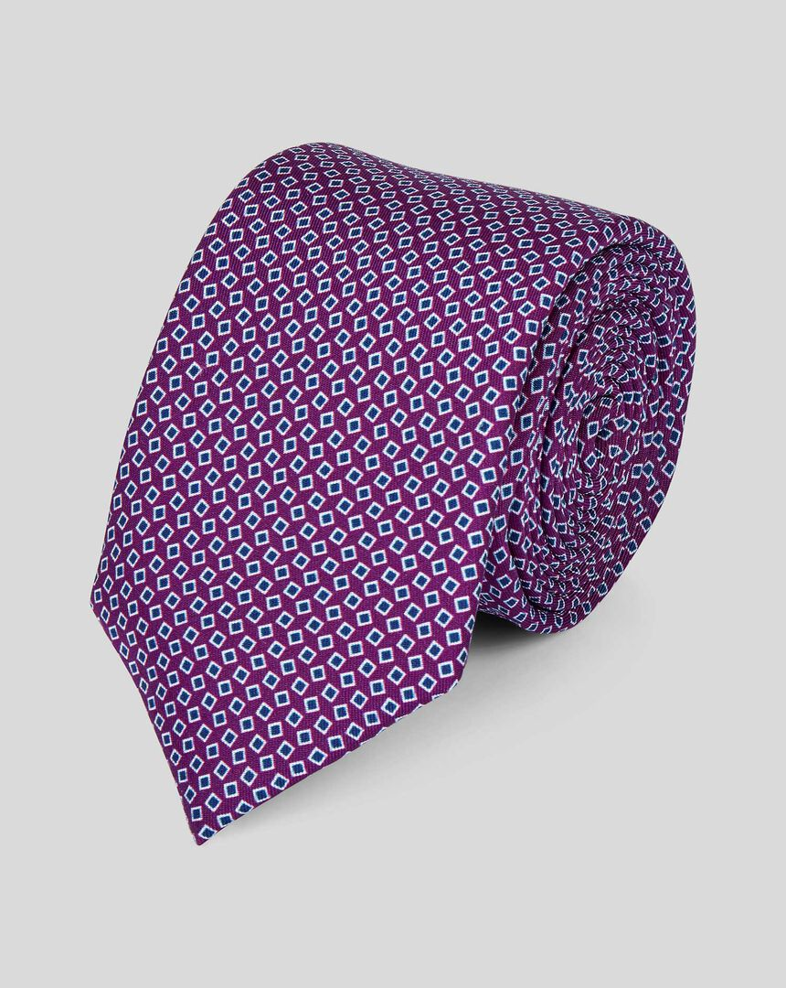 Silk Slim Geometric Print Tie - Purple