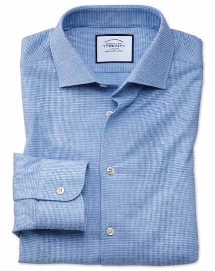 Weiches Slim Fit Business-Casual-Hemd mit rechteckigem Muster in Himmelblau