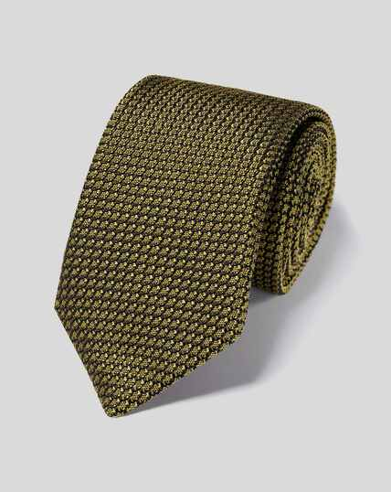 Silk Grenadine Italian Luxury Tie - Dark Yellow