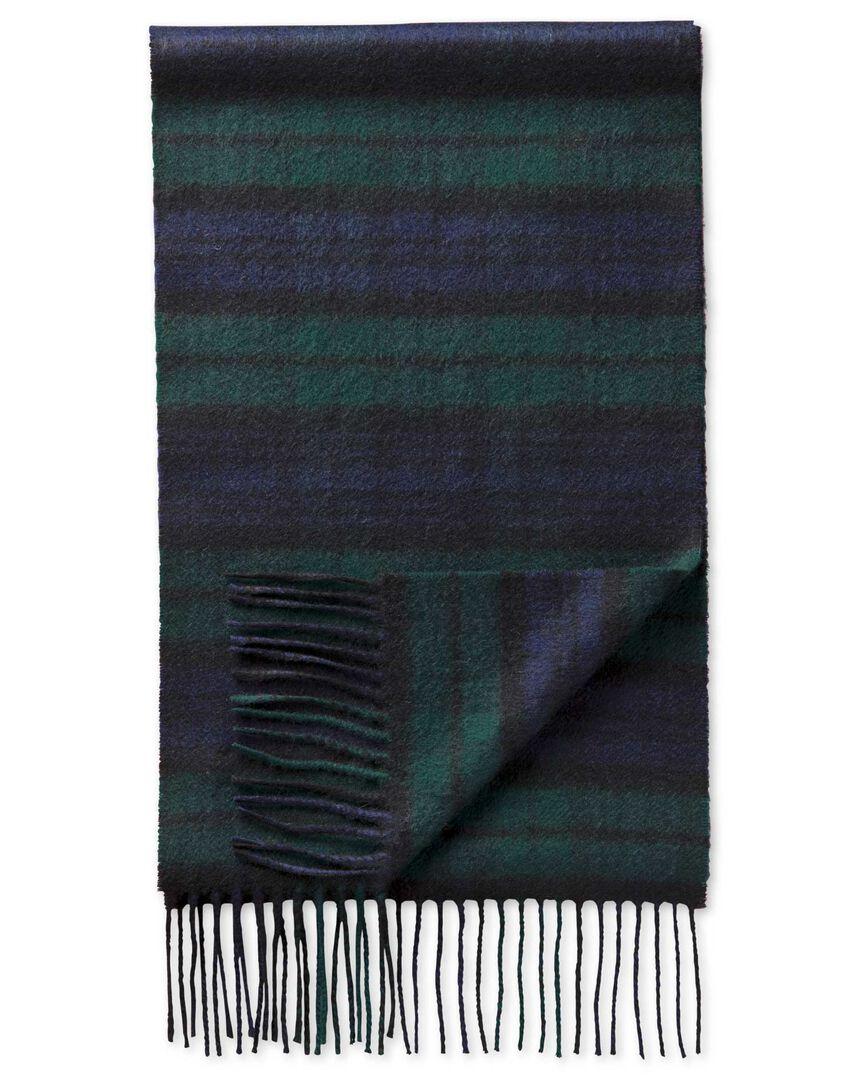 Écharpe en tissu écossais noir et vert