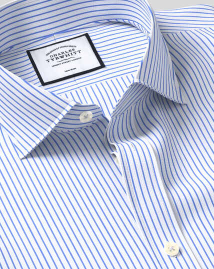 Cutaway Collar Non-Iron Dobby Stripe Shirt - Sky