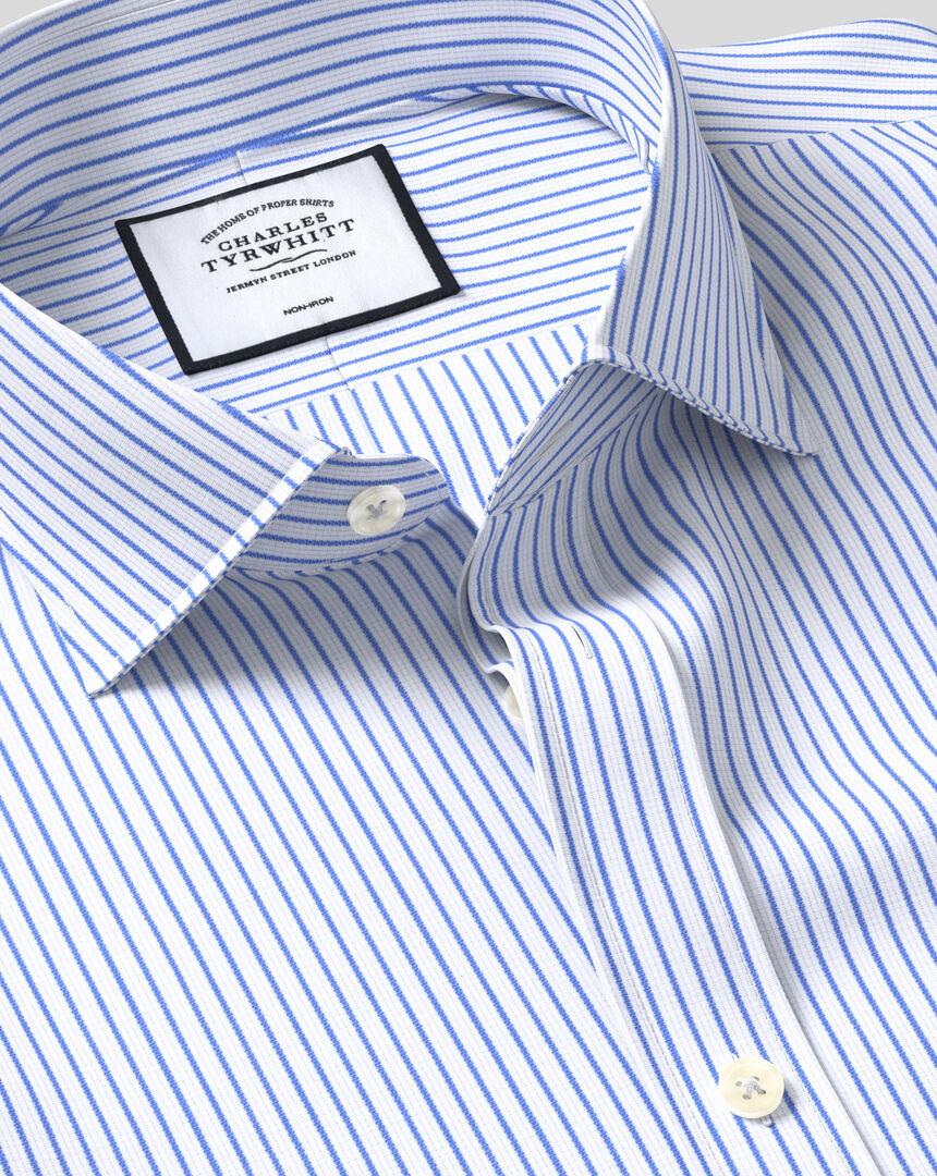 Bügelfreies Hemd aus Dobby-Gewebe mit Haifischkragen und Streifen - Himmelblau