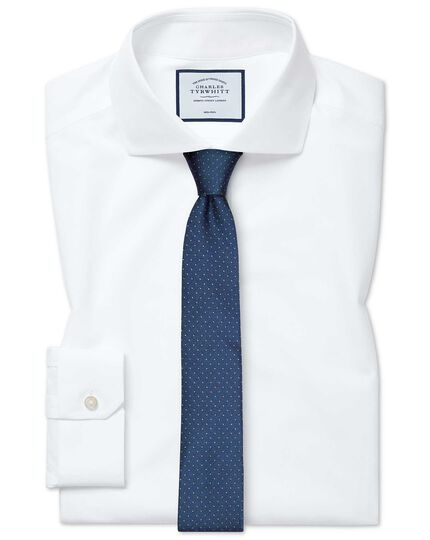Super slim fit non-iron 4-way stretch white shirt