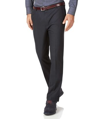 Charcoal slim fit stretch non-iron trousers