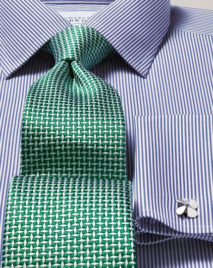 Slim fit  non-iron navy Bengal stripe shirt
