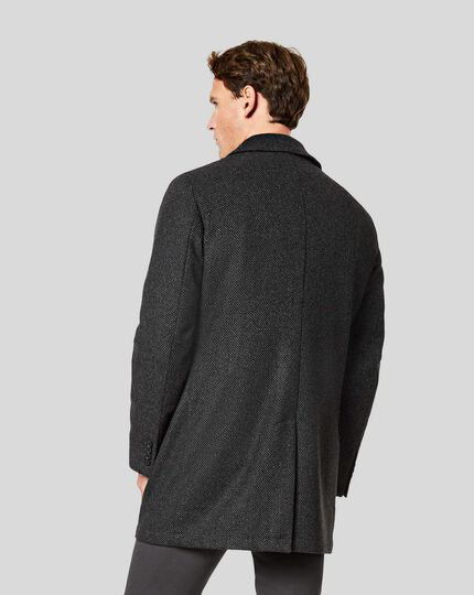 Birdseye Car Coat - Charcoal