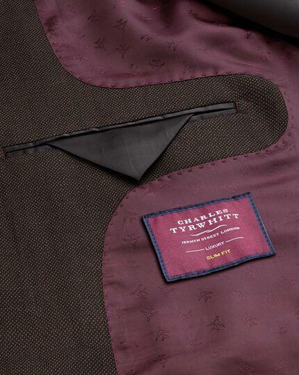 Brown slim fit birdseye travel suit jacket