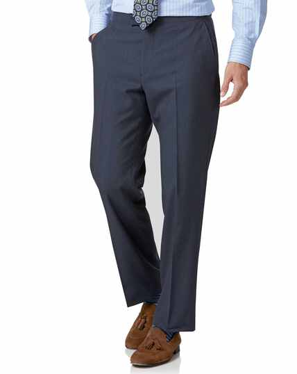 Blue Panama classic fit British suit trousers