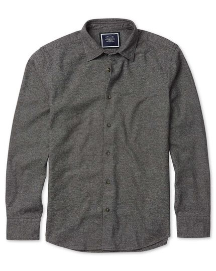 Slim fit winter flannel puppytooth brown shirt