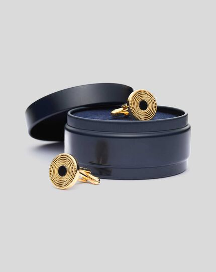 Onyx Centre Round Cufflinks - Gold