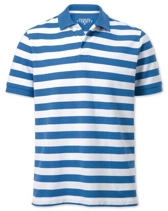 Blue and white stripe melange pique polo