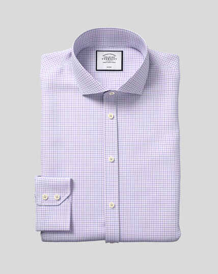 Cutaway Collar Non-Iron Twill Check Shirt - Lilac