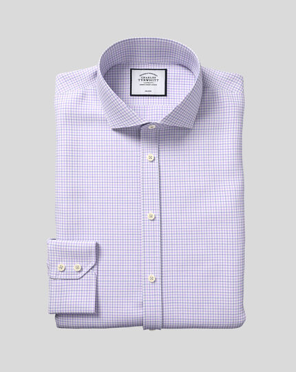 Spread Collar Non-Iron Twill Check Shirt - Lilac