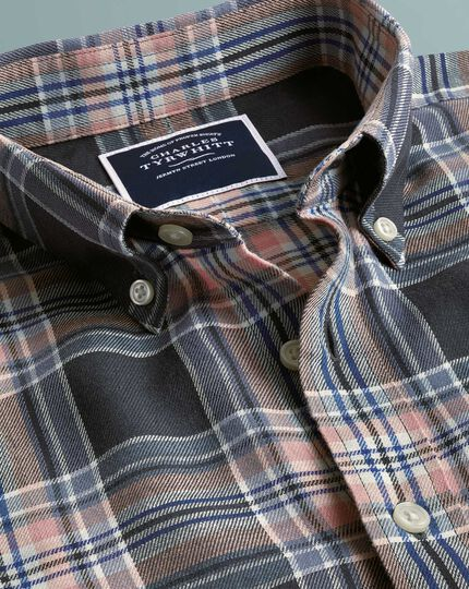 Classic  fit grey and pink check cotton linen twill shirt