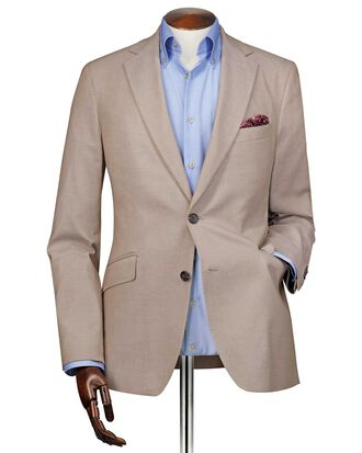 Slim fit stone plain stretch cotton blazer