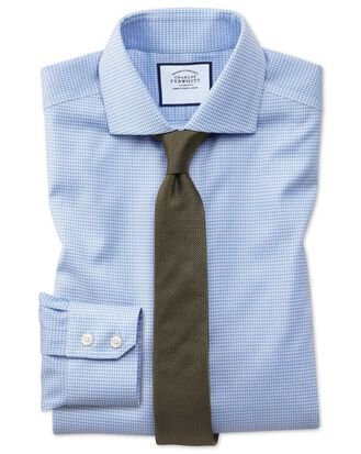 Slim fit non-iron spread collar sky blue puppytooth Oxford stretch shirt