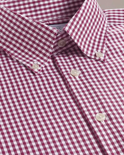 Slim fit business casual non-iron button-down berry check shirt