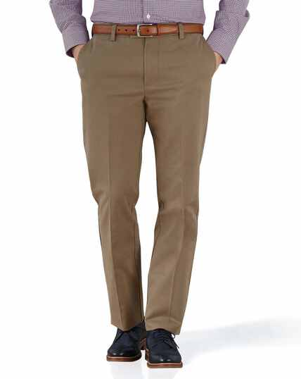 Tan slim fit flat front non-iron chinos
