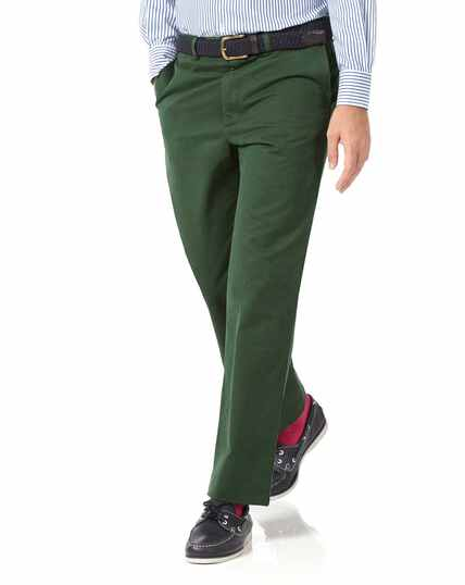 Green classic fit flat front washed chinos