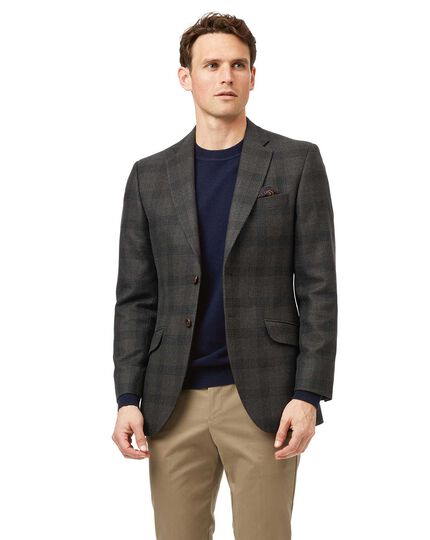 Classic fit green check British wool and cashmere jacket