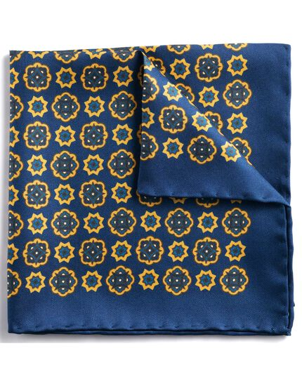 Navy and gold classic medallion pocket square