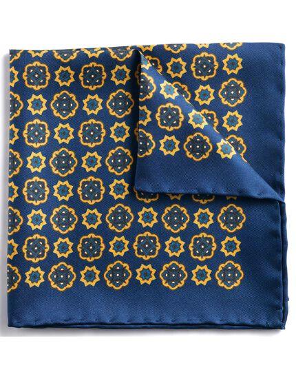 Klassisches Einstecktuch mit Medaillon-Print in Marineblau und Gold
