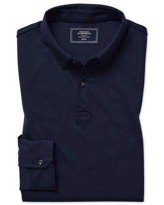 Langärmeliges, einfarbiges Jersey-Polohemd in Marineblau