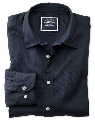 Slim Fit Hemd aus Strukturgewebe mit Waffelmuster in dunklem Marineblau