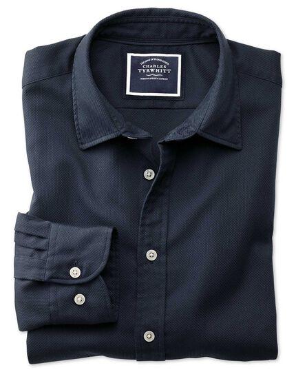 Slim fit washed dark navy honeycomb textured shirt
